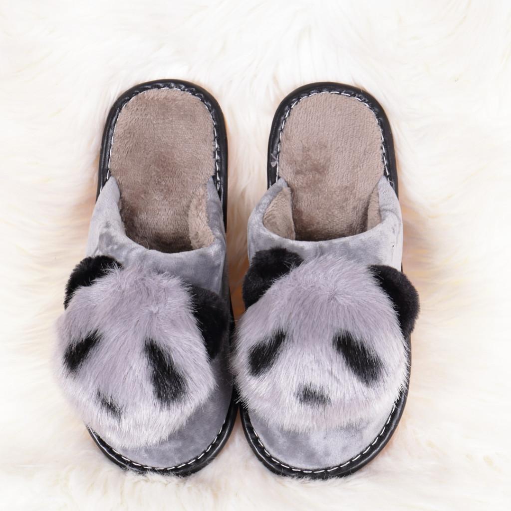 Papuci de casa cu panda gri Linzi
