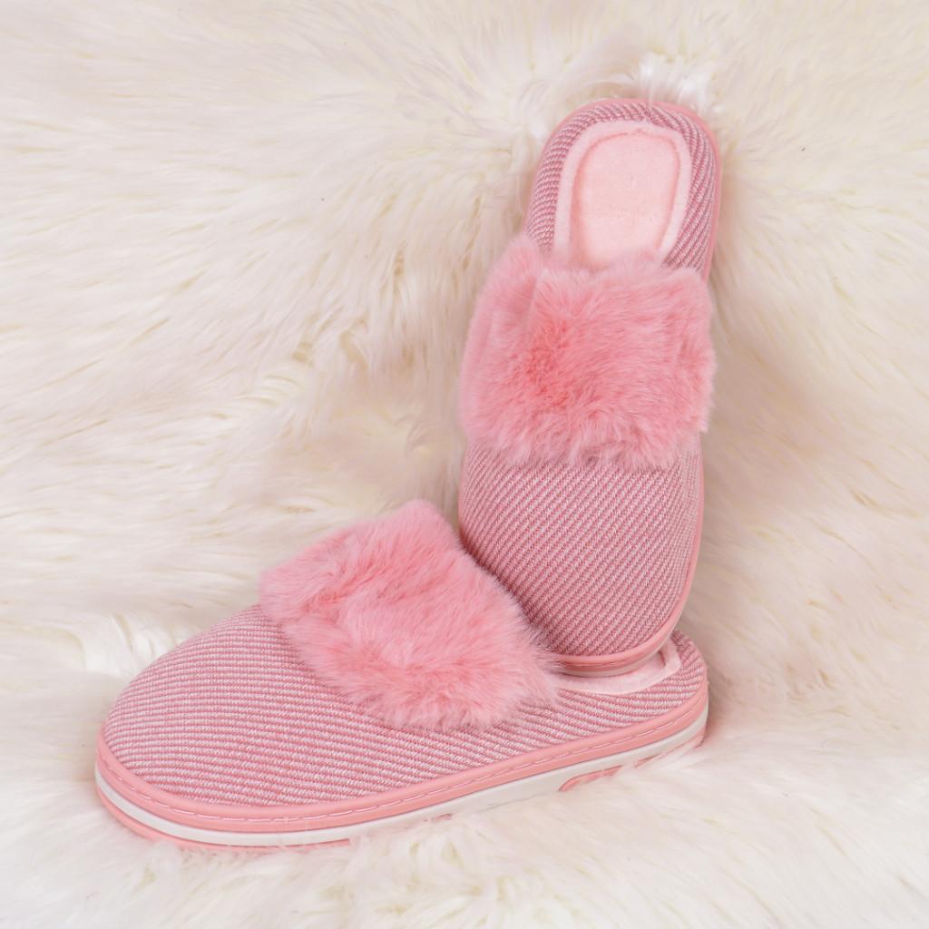 Papuci de casa cu puf roz Gora