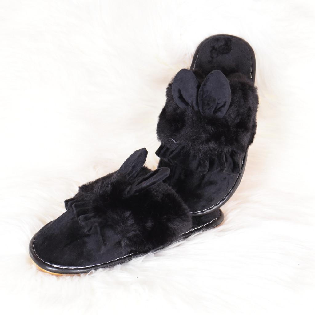 Papuci de casa negri cu iepuras Landa