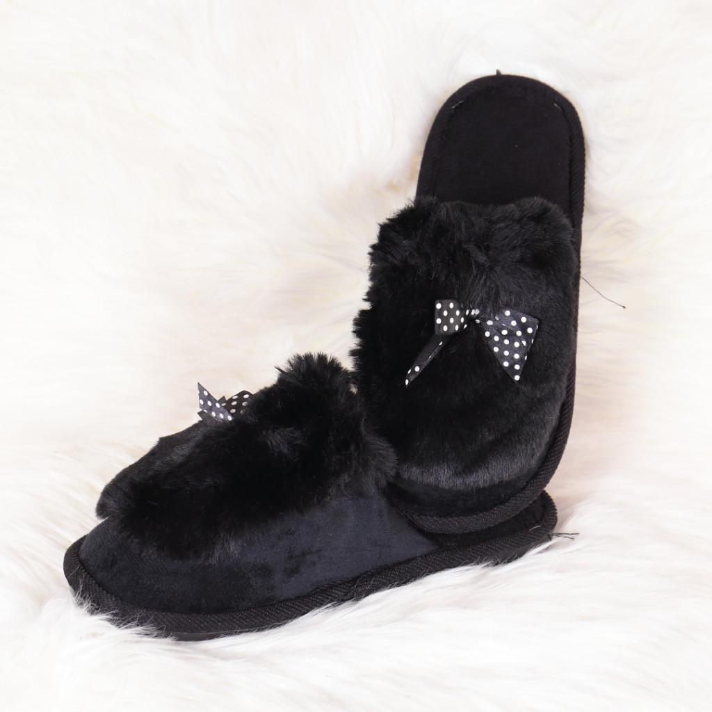 Papuci de casa negru cu fundita si puf Hatia