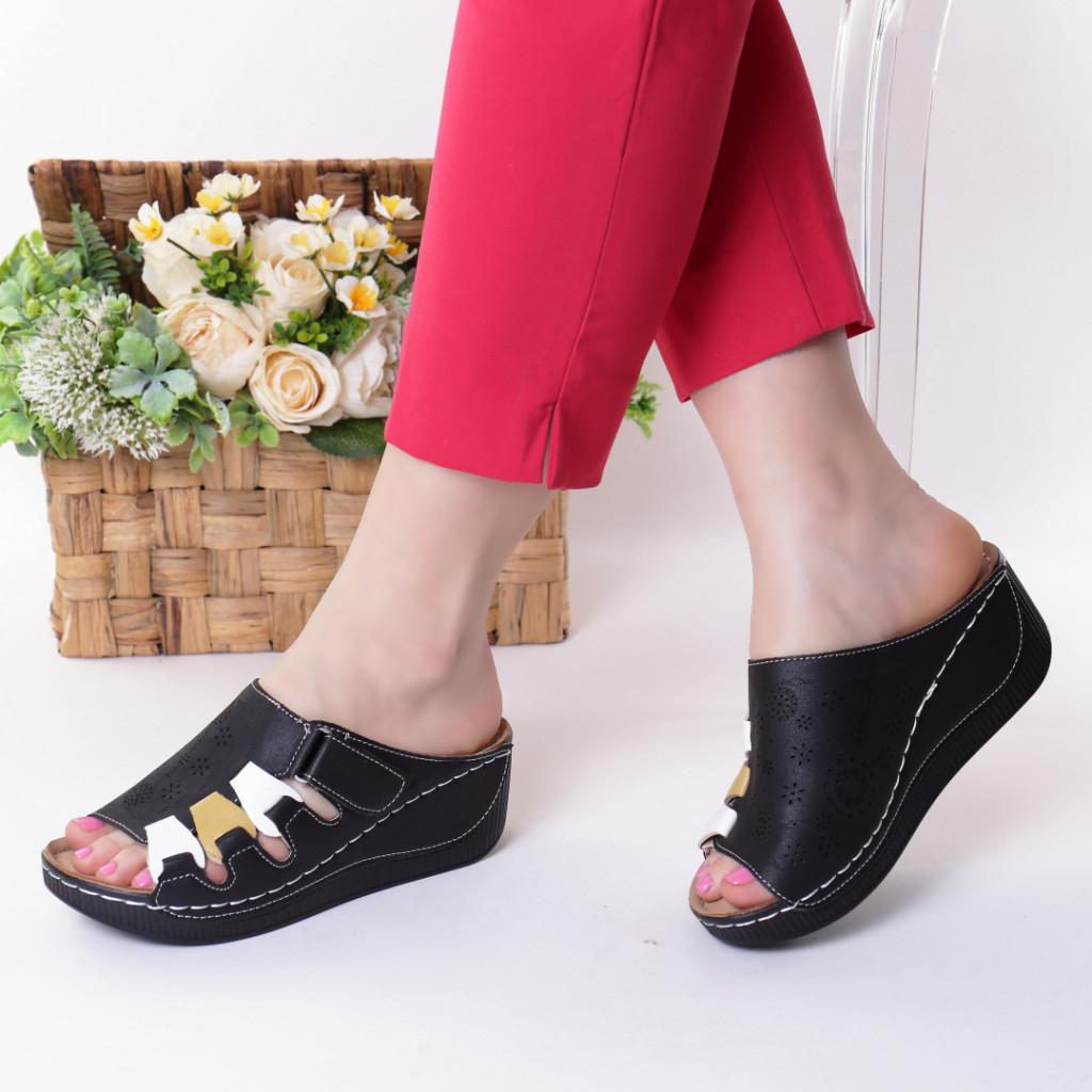 Papuci negri piele ecologica Ofra