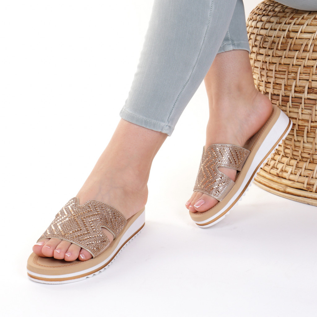 Papuci piele ecologica aurii Iordana