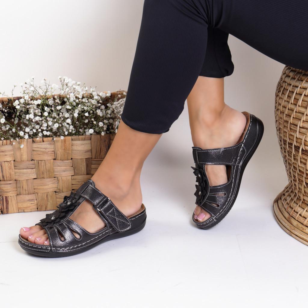 Papuci piele ecologica metalic Luzica