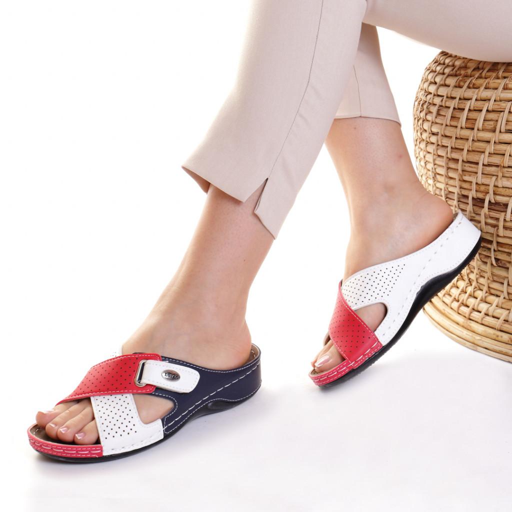 Papuci piele ecologica rosu cu bleumarin Oxana