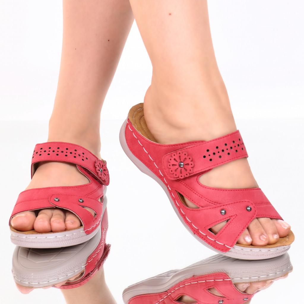 Papuci rosii piele ecologica Amita