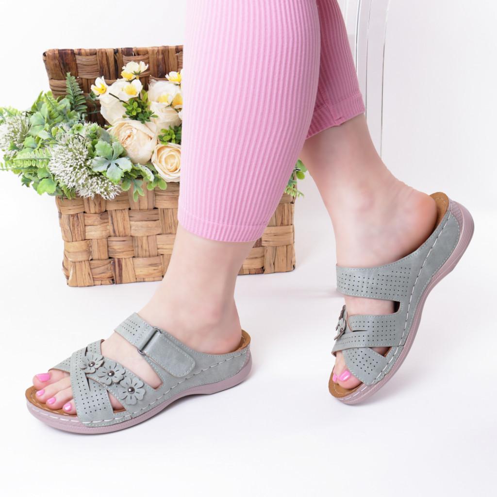 Papuci verzi piele ecologica Gevira