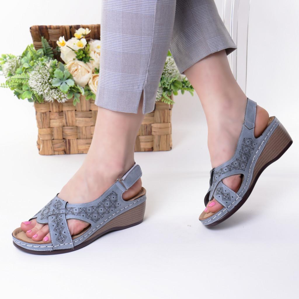 Sandale albastre piele ecologica Riveka