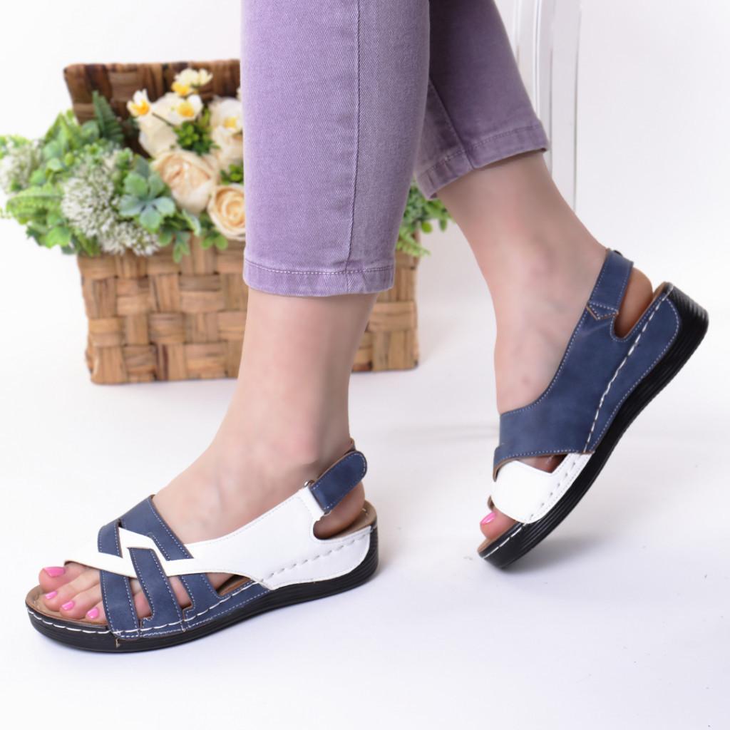 Sandale albastru cu alb piele ecologica Dorona