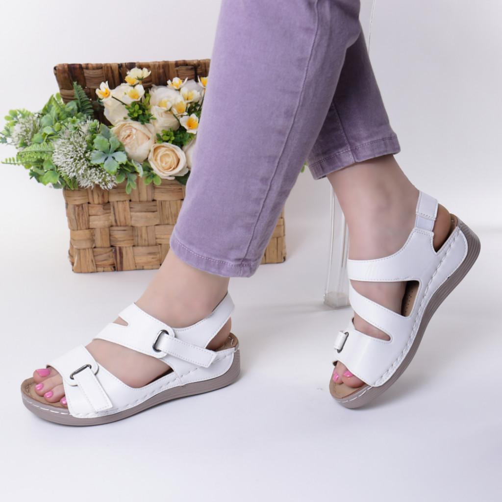 Sandale albe piele ecologica Abana