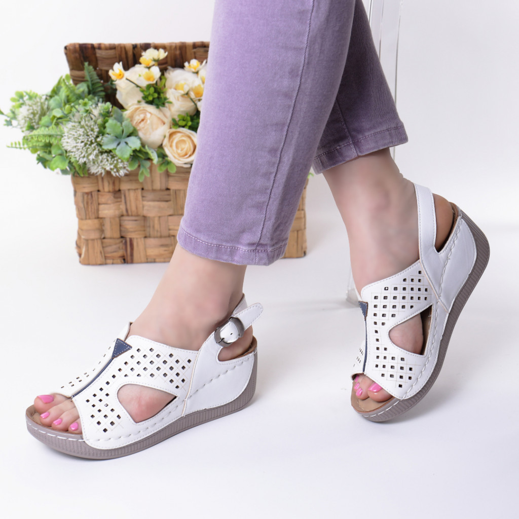 Sandale albe piele ecologica Liora
