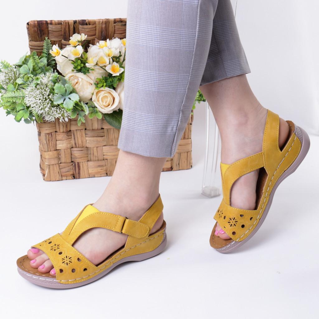 Sandale galbene piele ecologica Safira