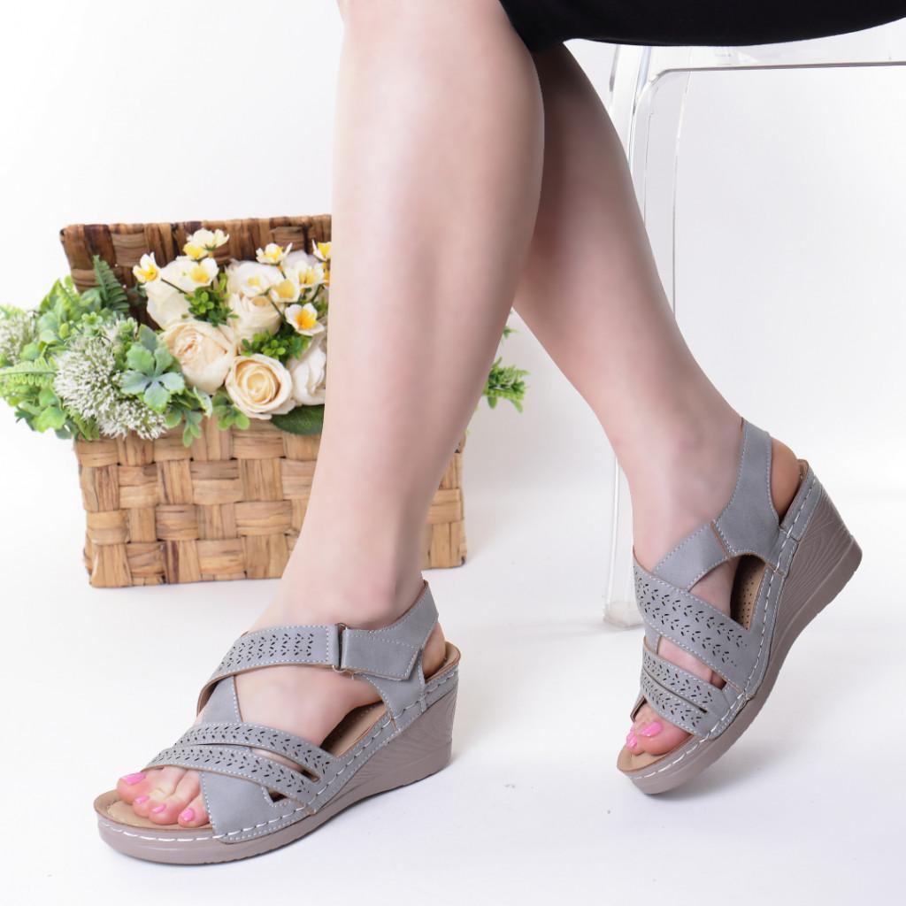 Sandale gri piele ecologica Renana