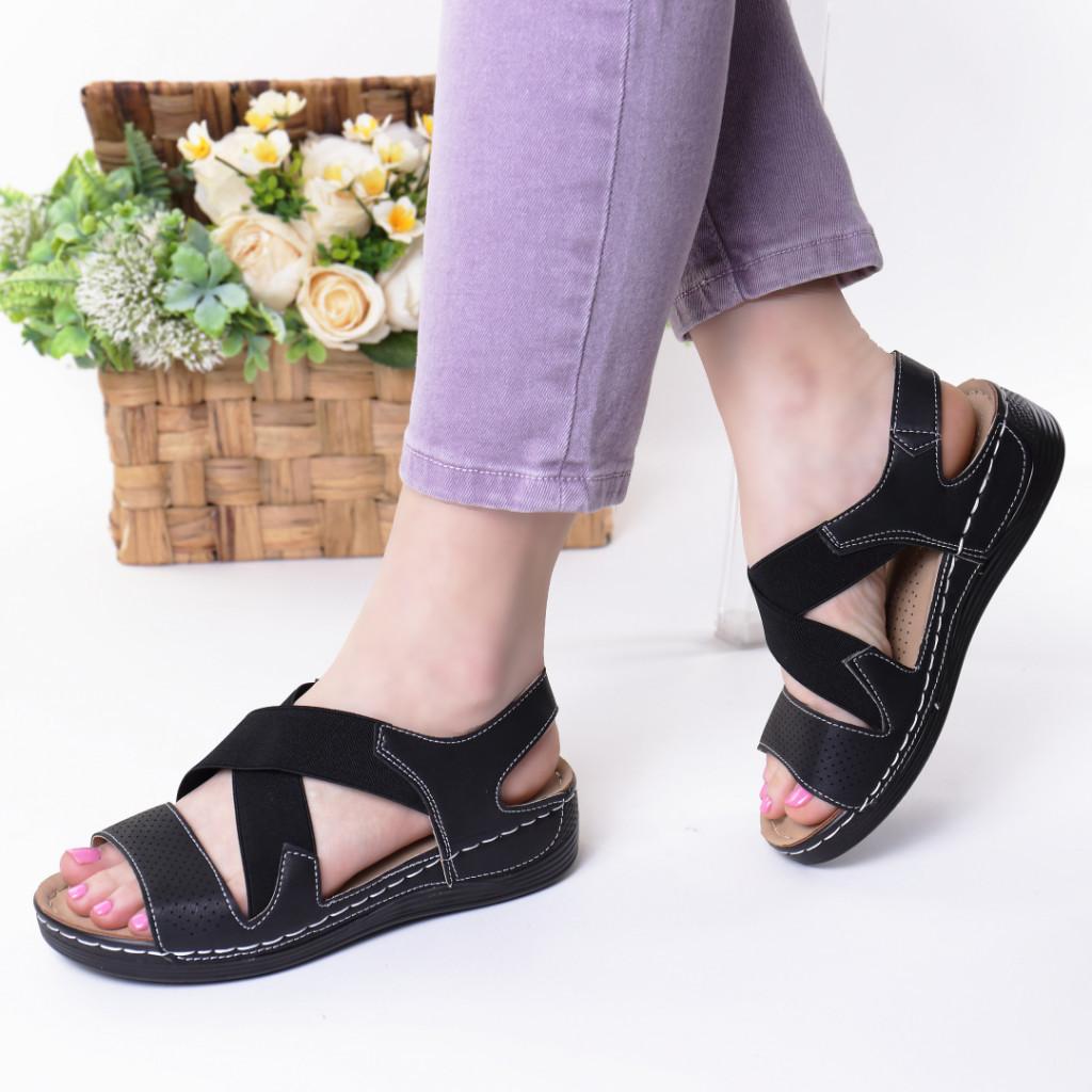 Sandale negre piele ecologica Aliza