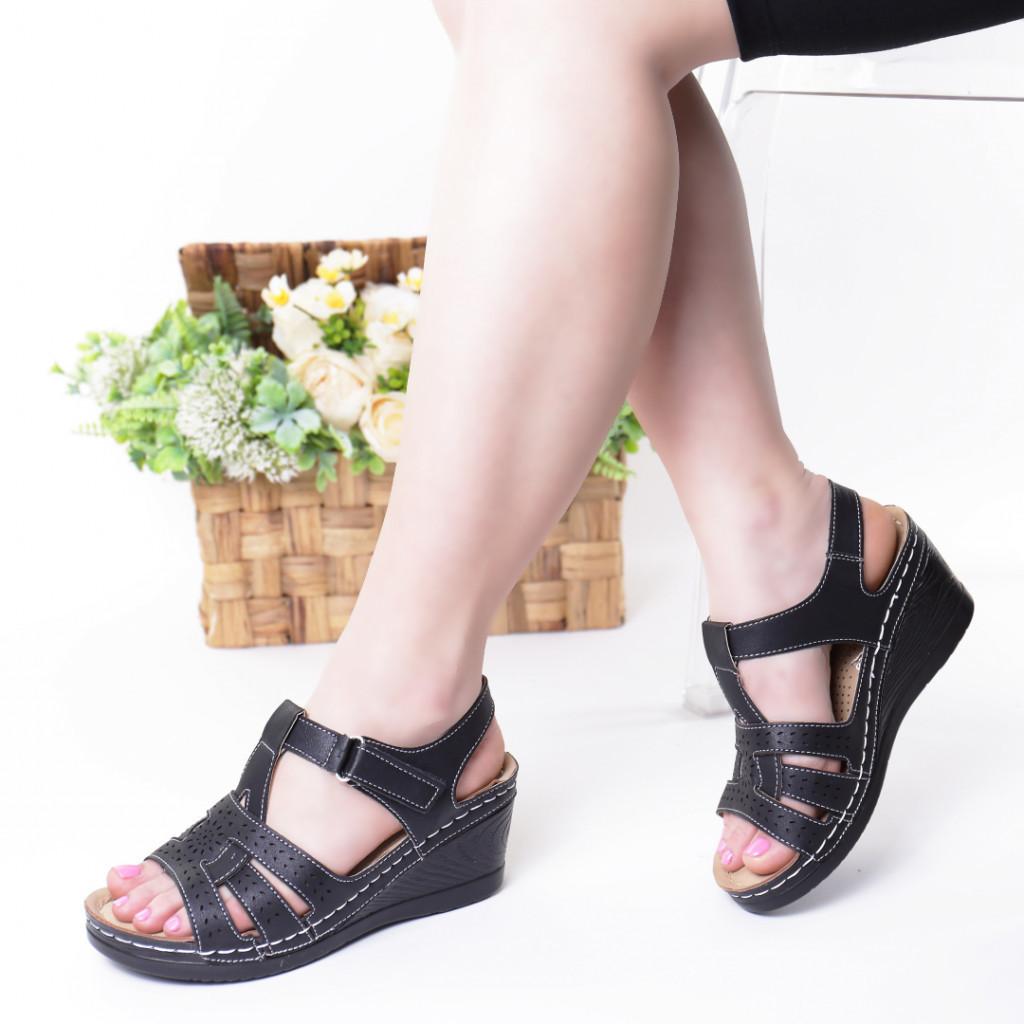 Sandale negre piele ecologica Iva