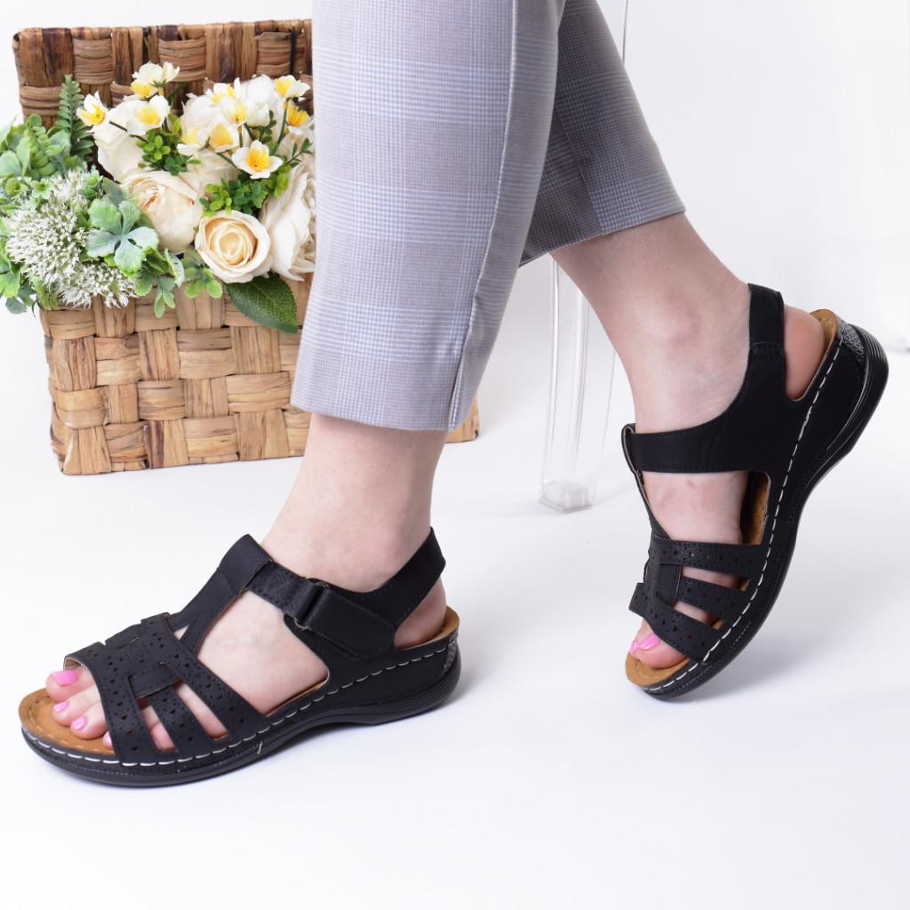 Sandale negre piele ecologica Ziva