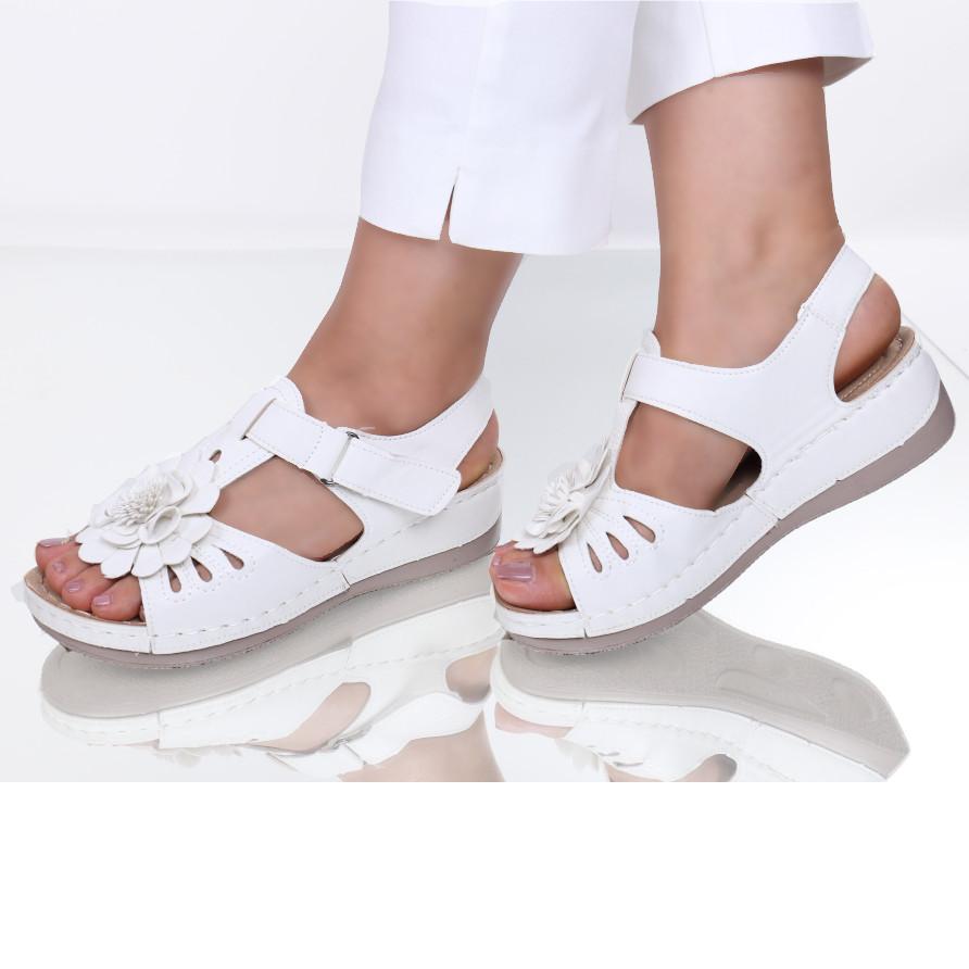 Sandale piele ecologica albe Floransa