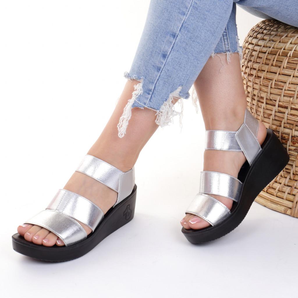 Sandale piele ecologica argintii Lauriana