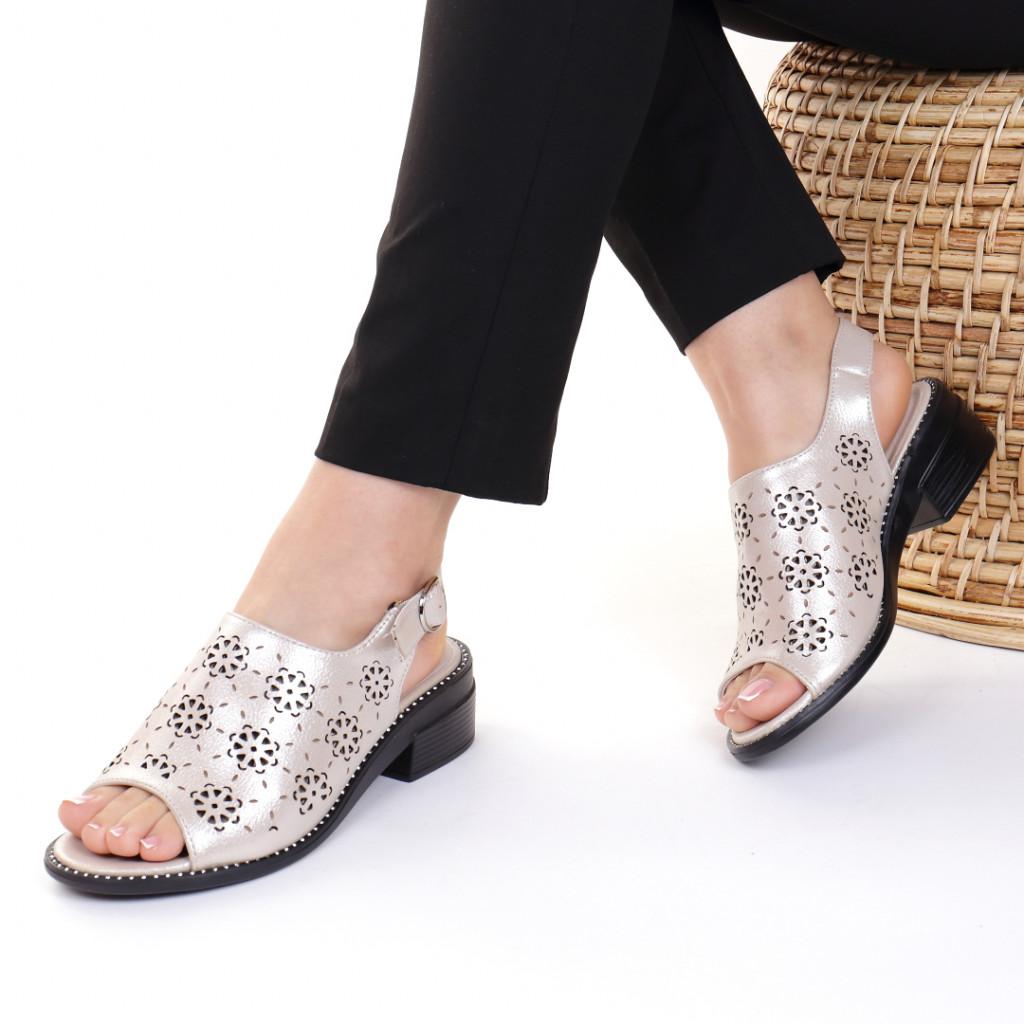 Sandale piele ecologica aurii Evelin