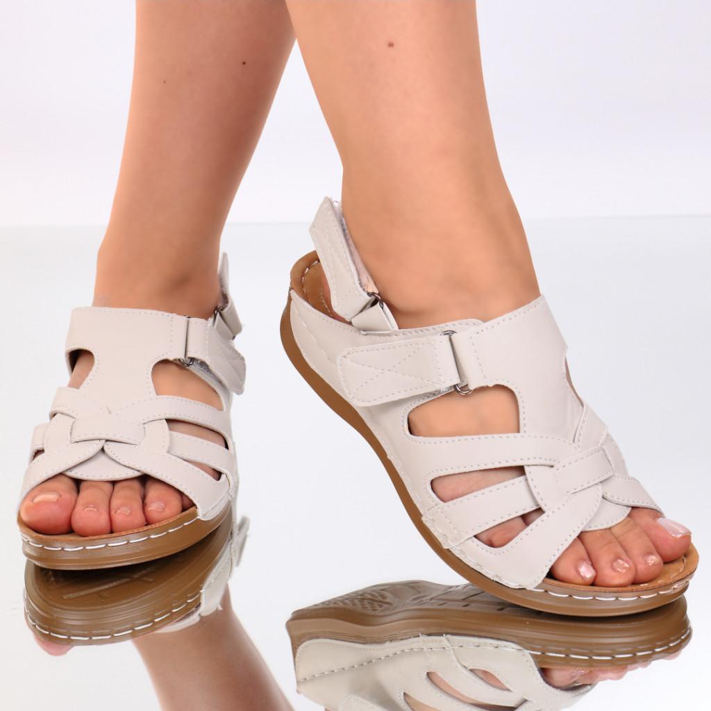 Sandale piele ecologica crem Ardena