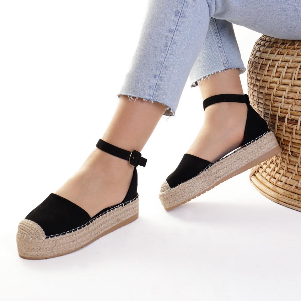 Sandale piele ecologica intoarsa negre Jaya