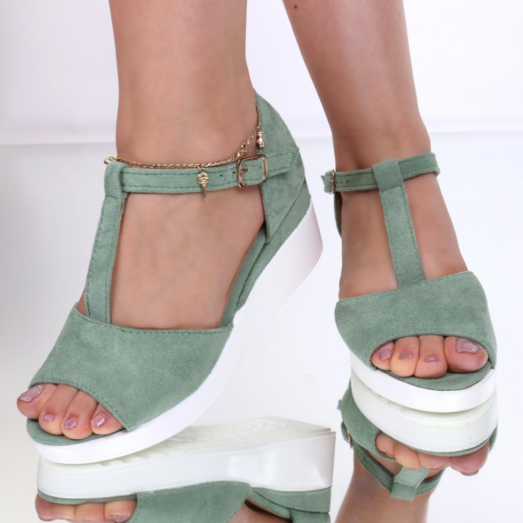 Sandale piele ecologica intoarsa verzi Gheisa