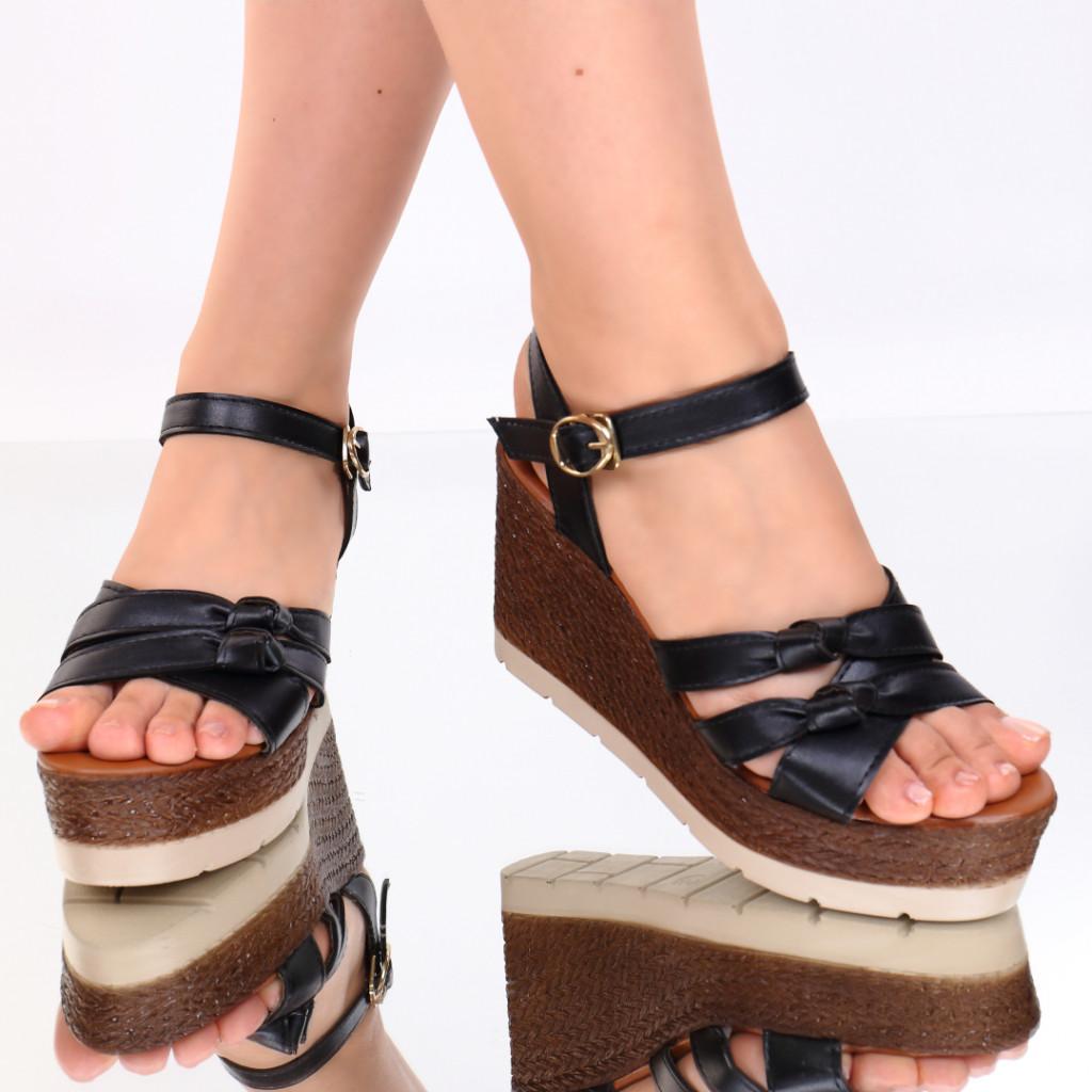 Sandale piele ecologica negre Siera