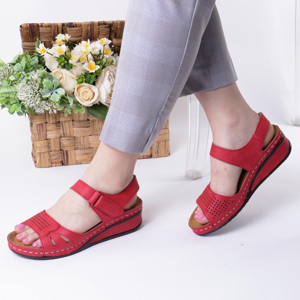 Sandale rosii piele ecologica Verana