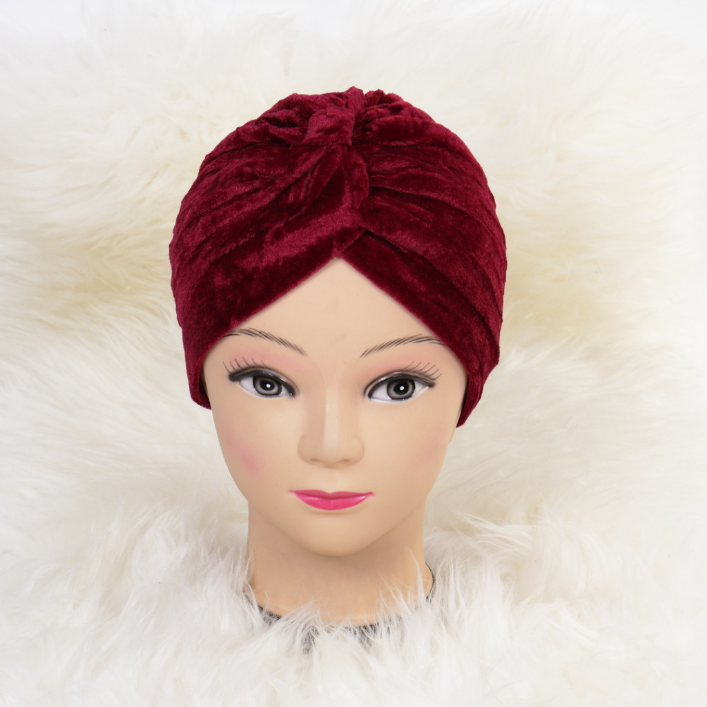 Turban catifelat bordo Ina
