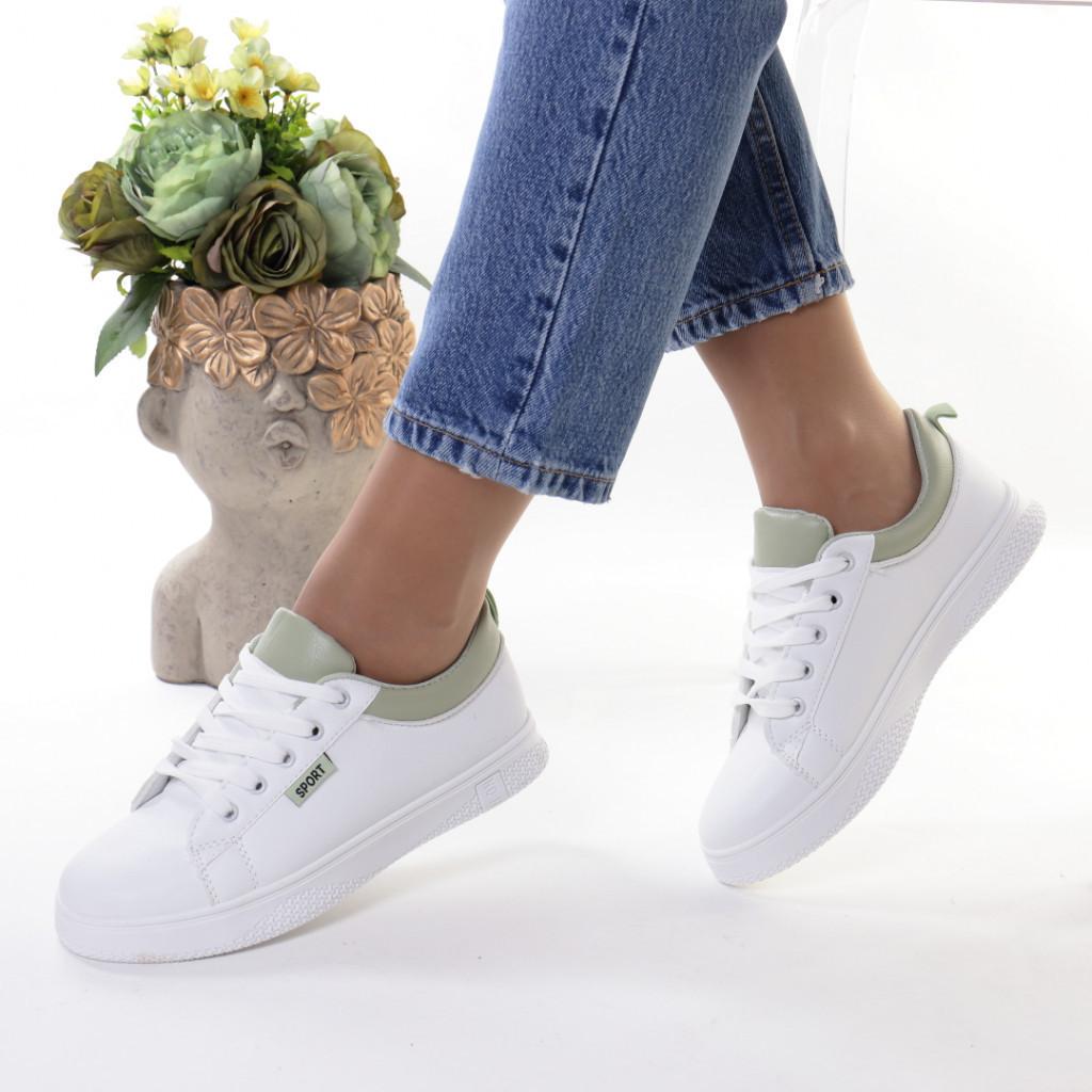 Adidasi alb cu verde piele ecologica Ruzina