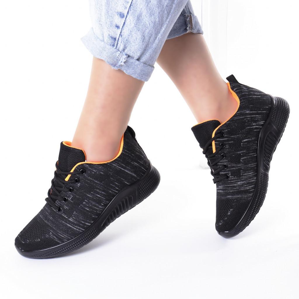 Adidasi negru cu gri material textil Persiana