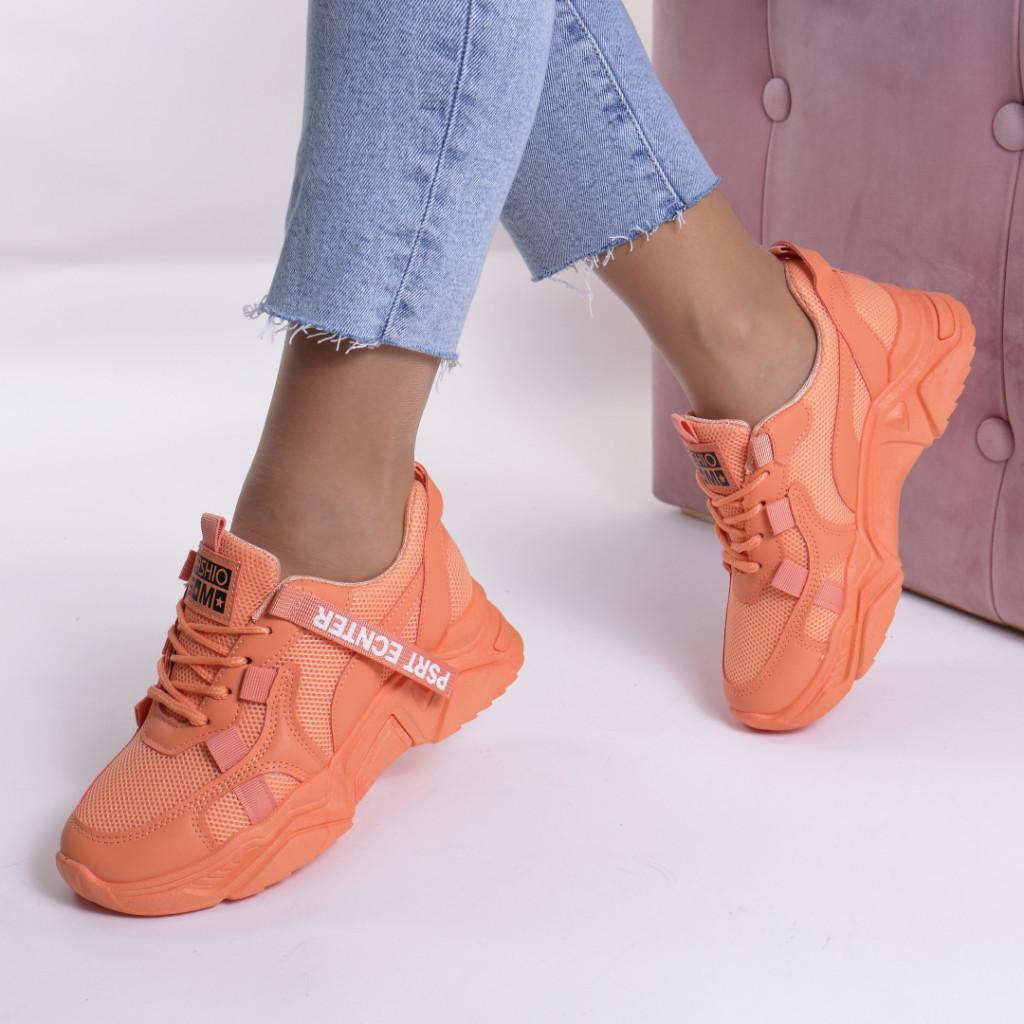 Adidasi portocali piele ecologica si textil Mika