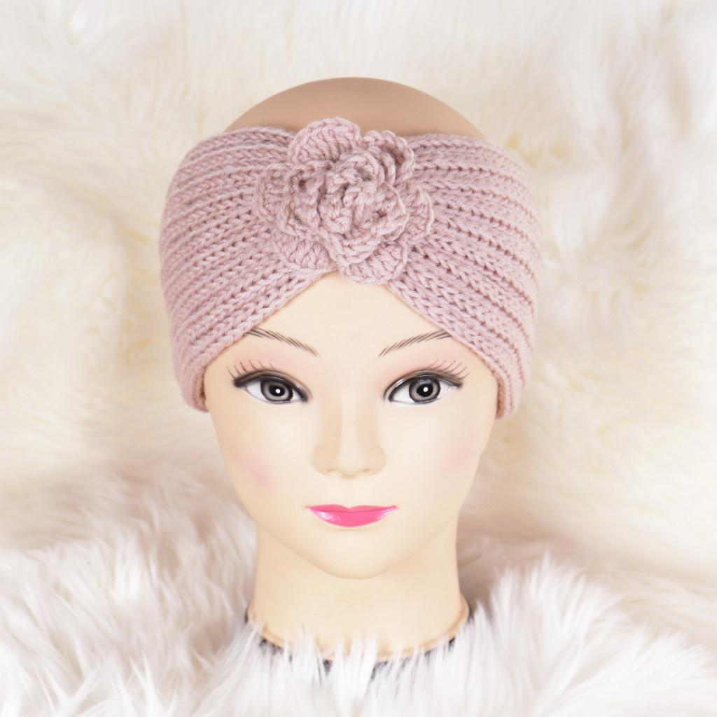 Bentita roz cu floare tricotata Zuma