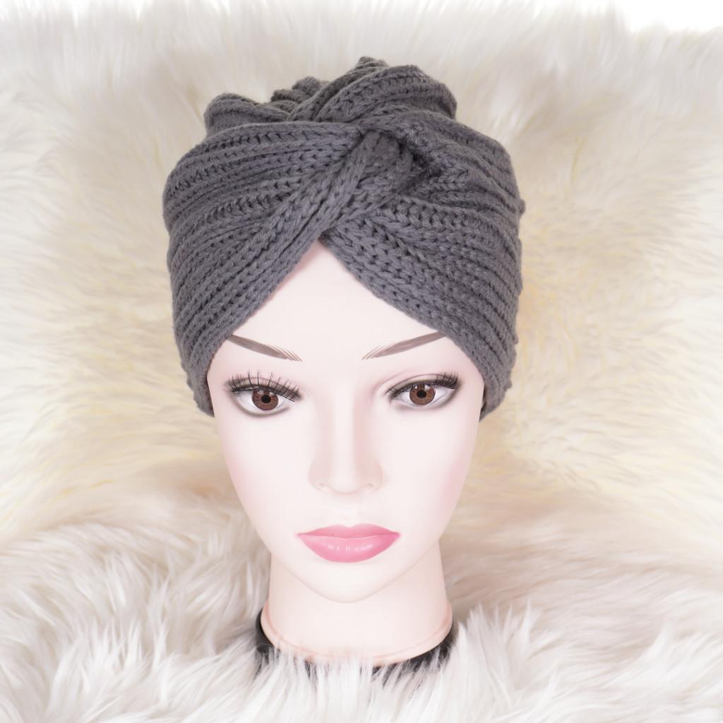 Caciula gri tricotata stil turban simplu Enli