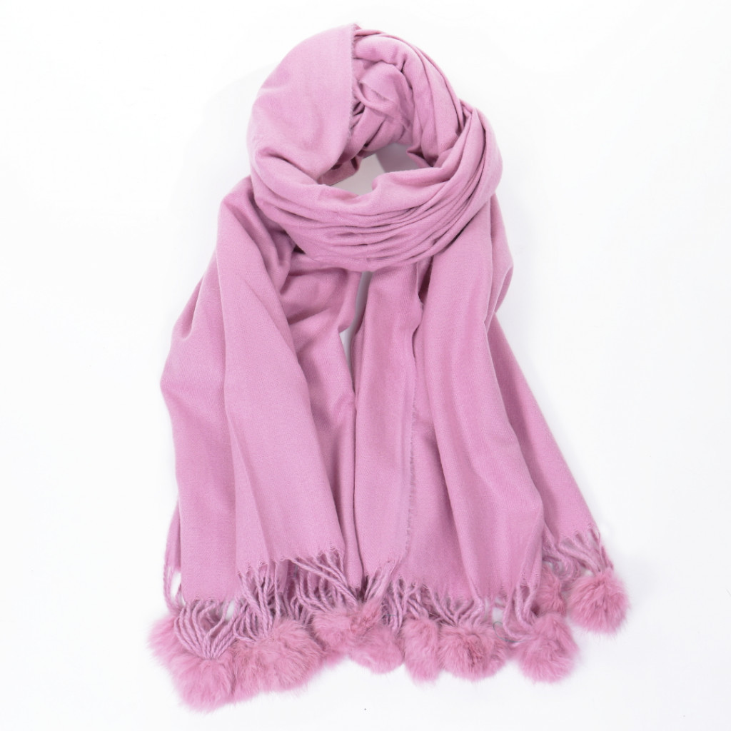 Esarfa roz cu ciucuri simpla Sitia