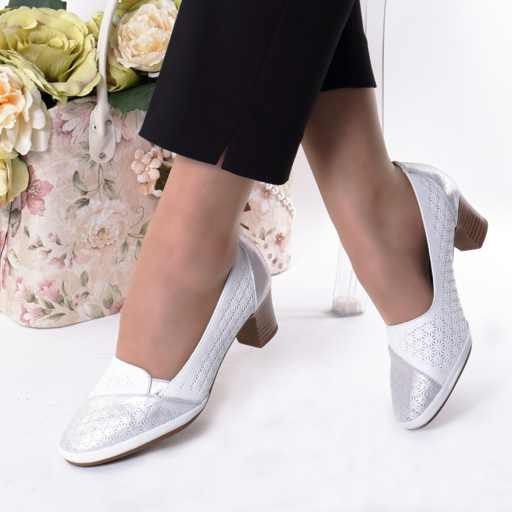 Pantofi albi piele ecologica Azalia
