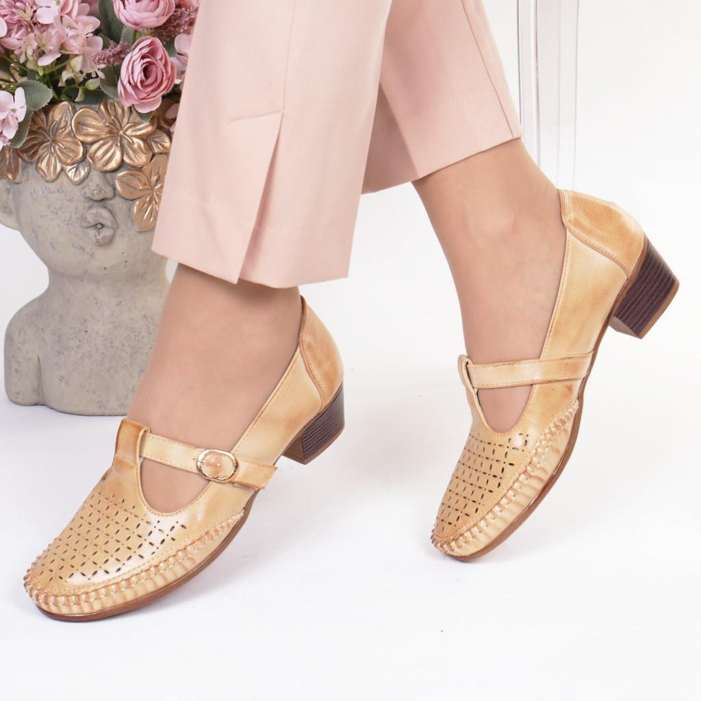 Pantofi bej piele ecologica Damiana