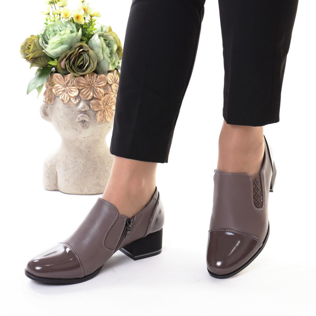 Pantofi gri piele ecologica Sanura