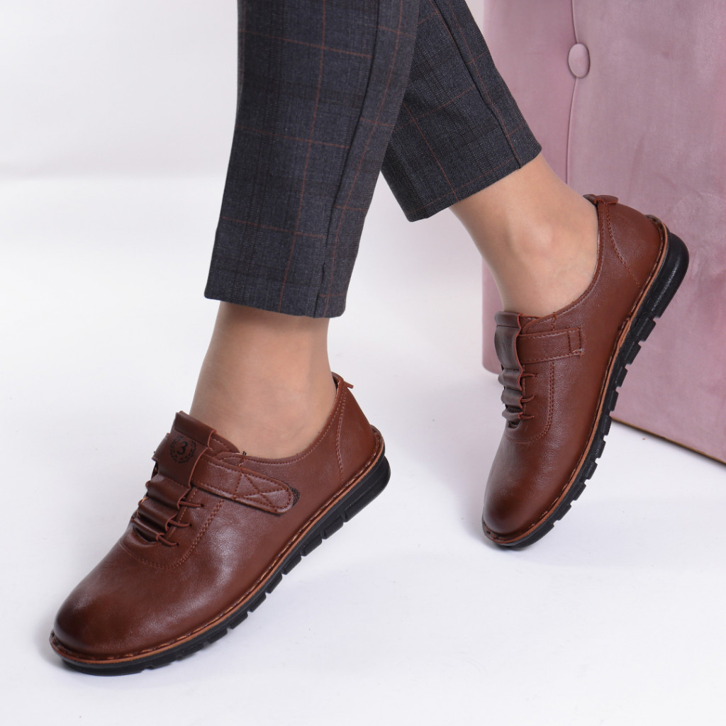 Pantofi maro piele ecologica Diomia
