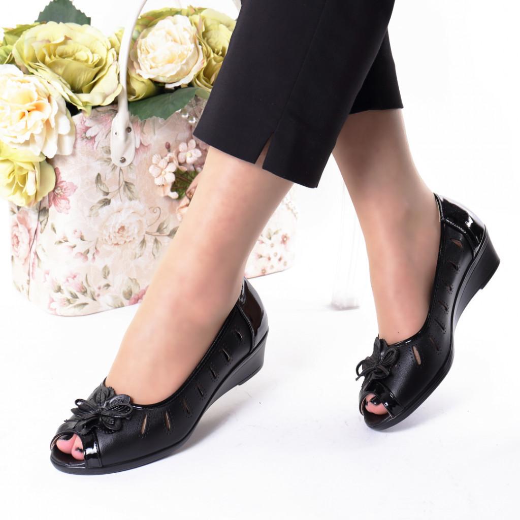 Pantofi negri piele ecologica Alara
