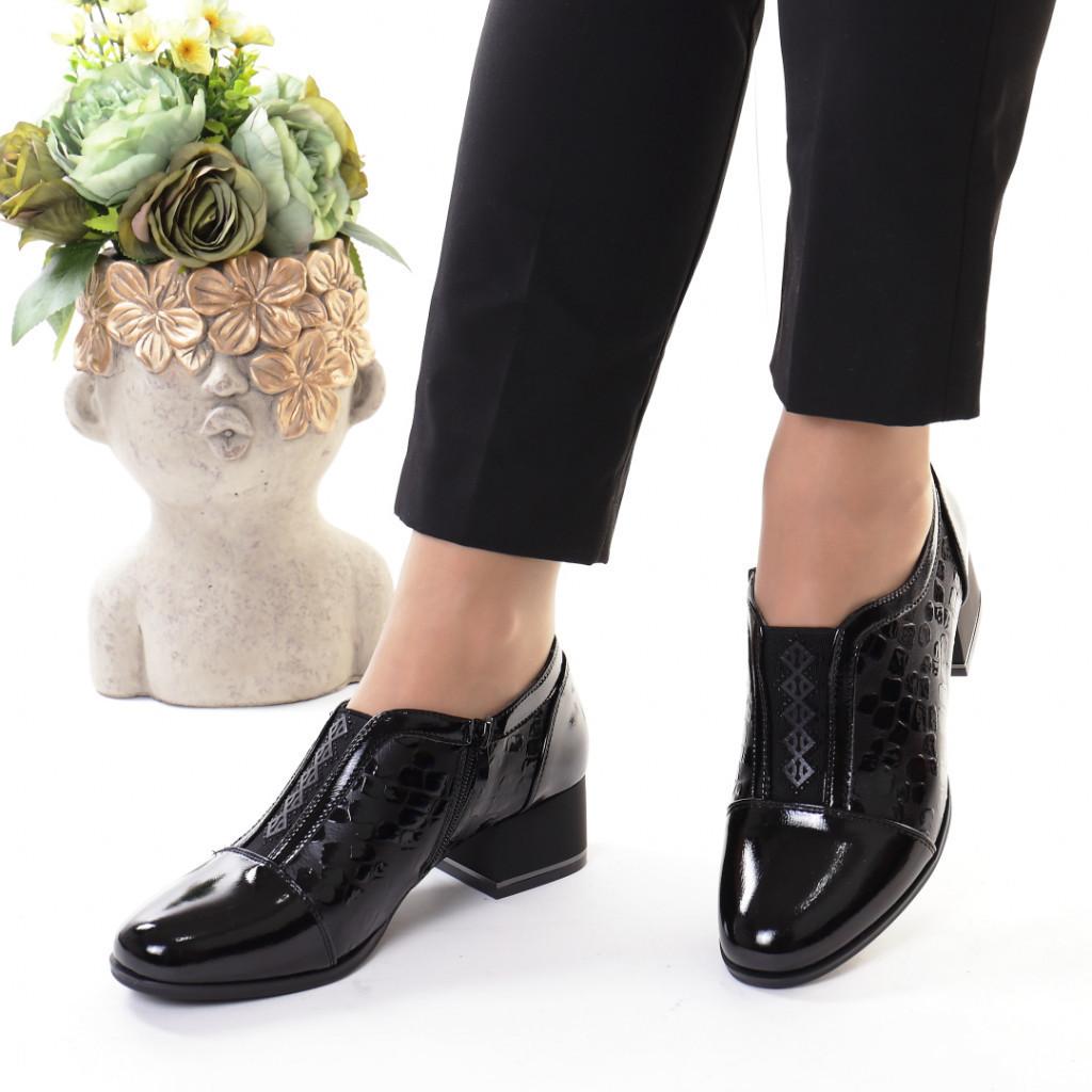 Pantofi negri piele ecologica Indira