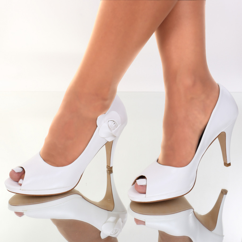 Pantofi piele ecologica albi Miren