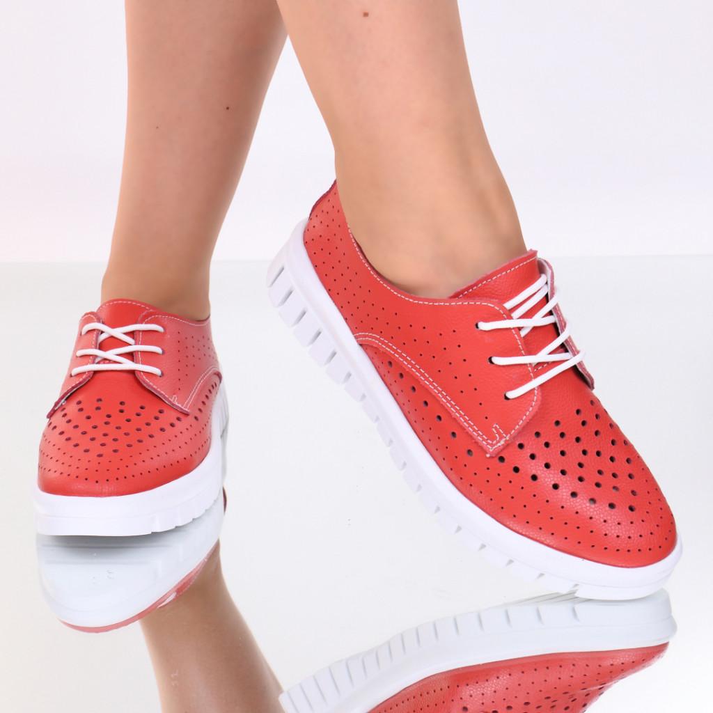 Pantofi piele naturala rosii Nevada