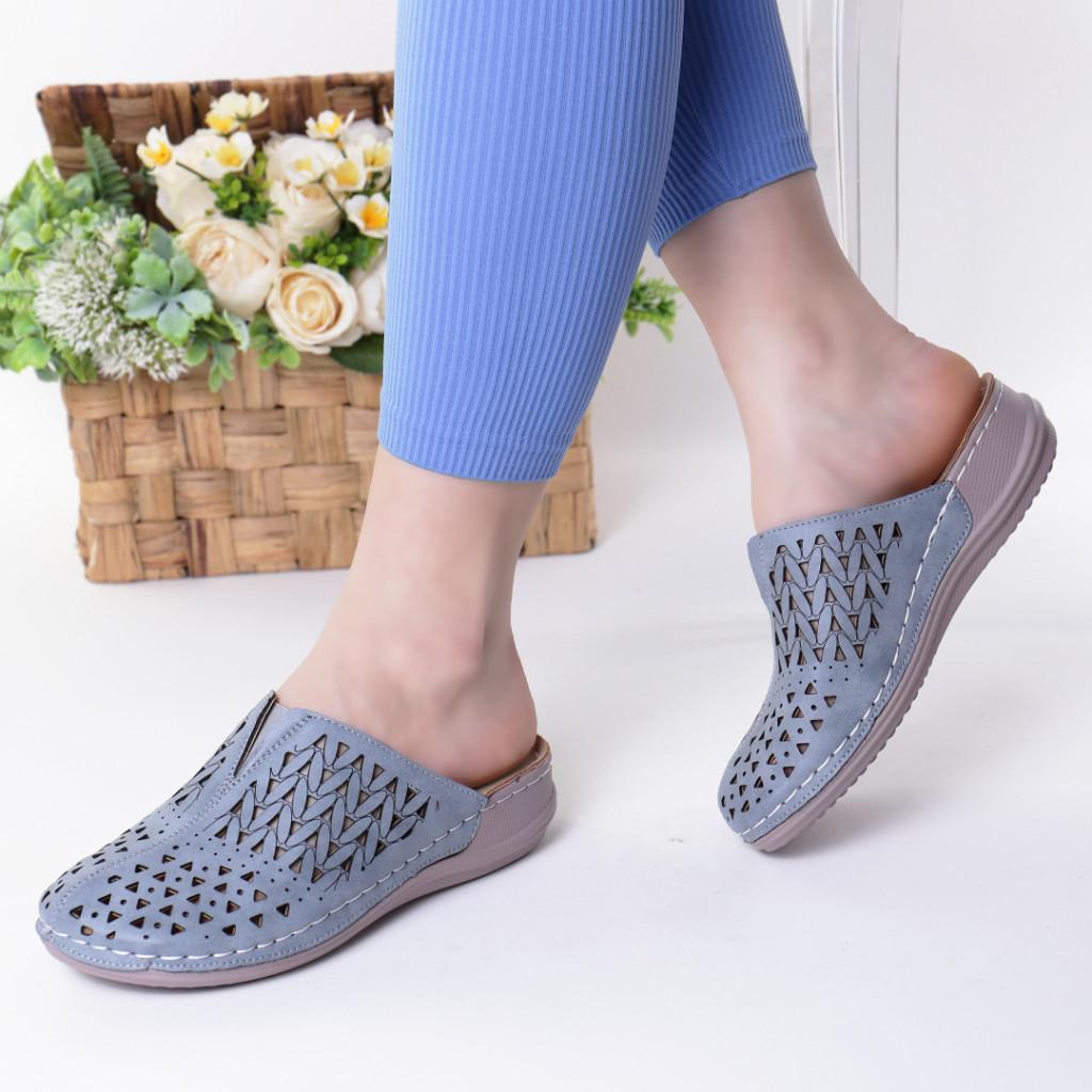 Papuci albastri piele ecologica Steluta