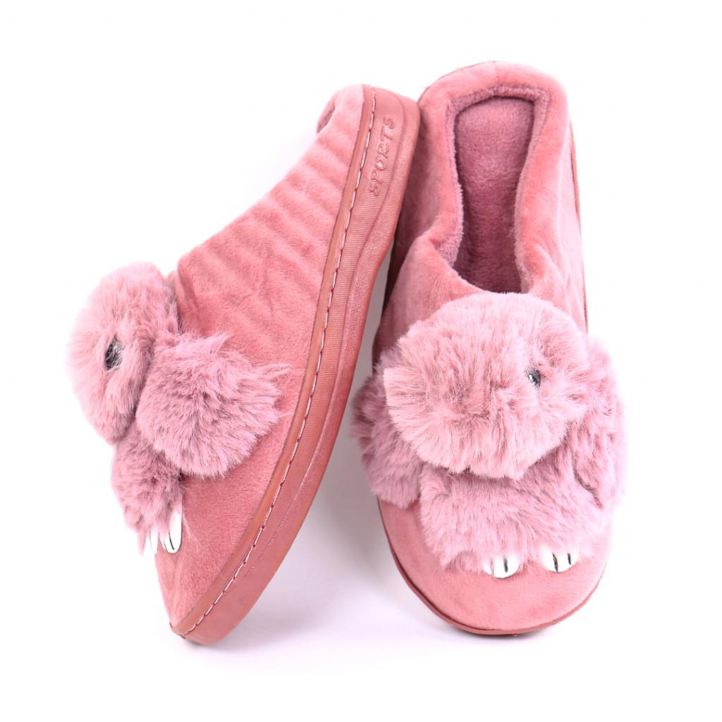 Papuci cu iepuras roz inchis Iupia