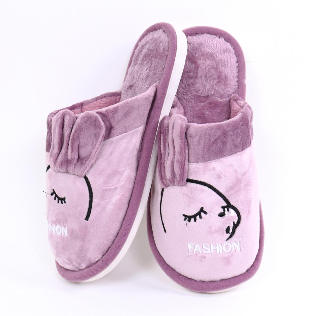 Papuci cu model lila Slena