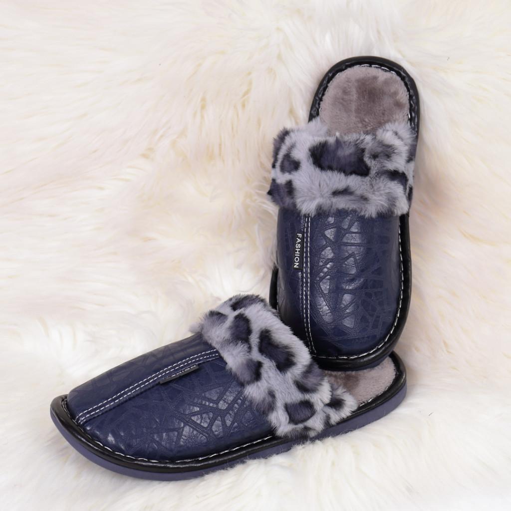 Papuci de casa cu blanita bleumarin Silva