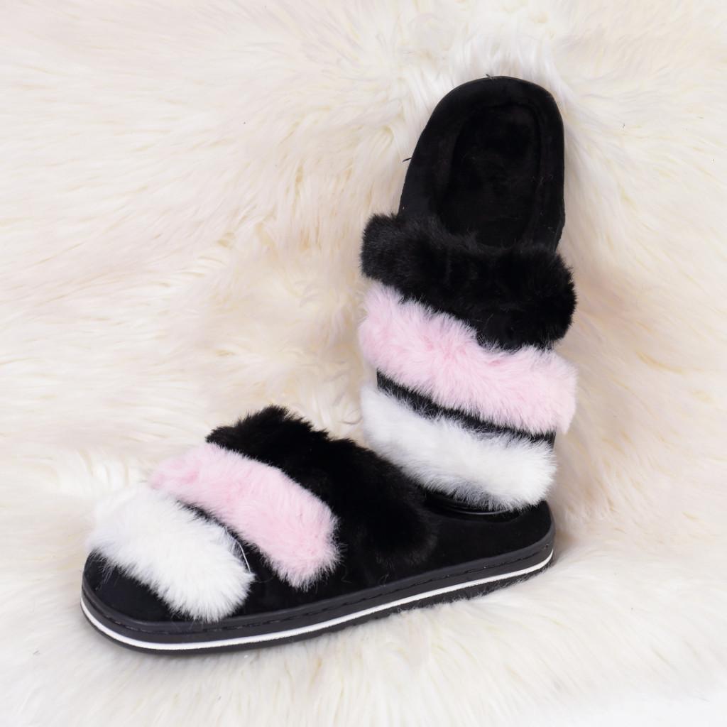 Papuci de casa cu dungi negri Caly