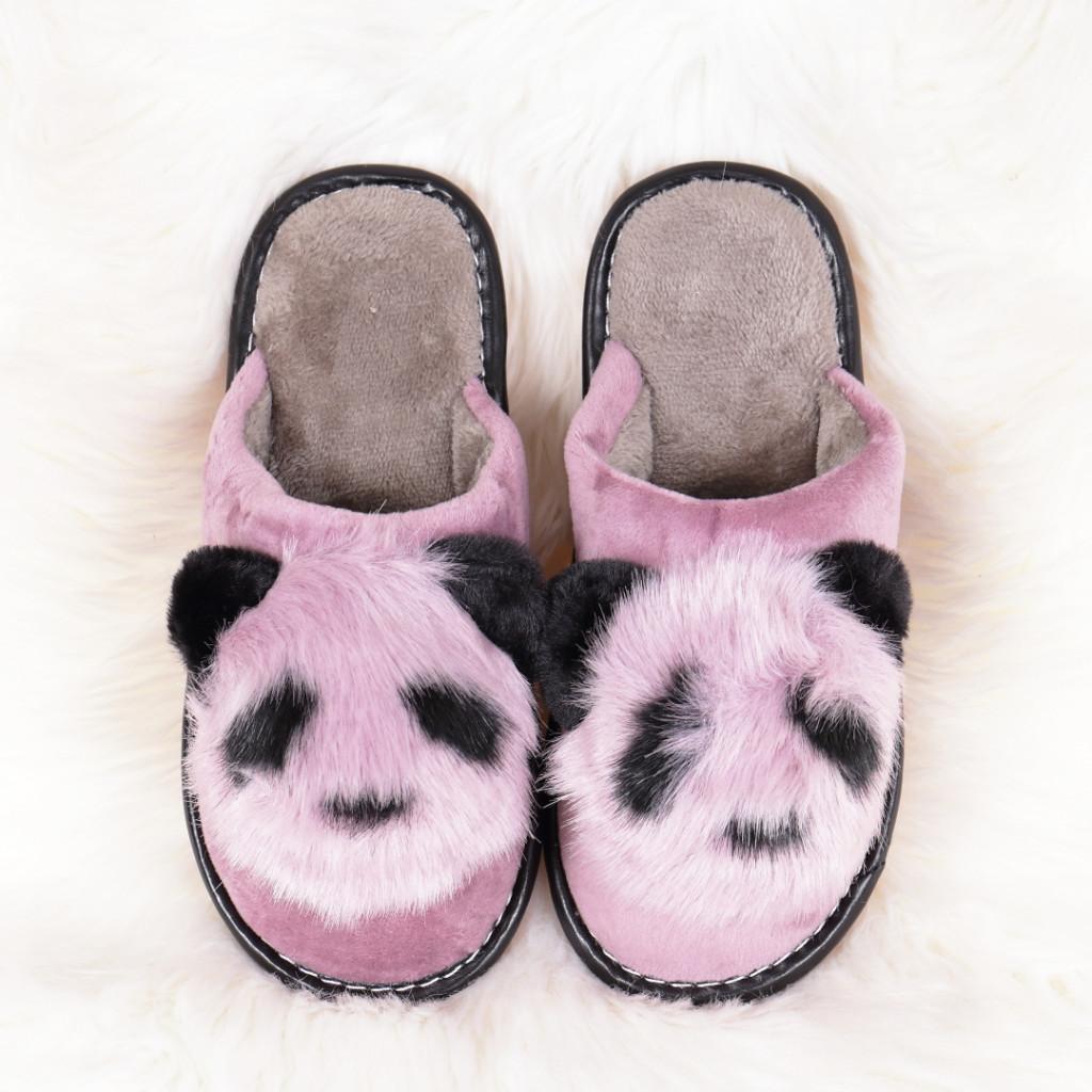 Papuci de casa cu panda lila Linzi