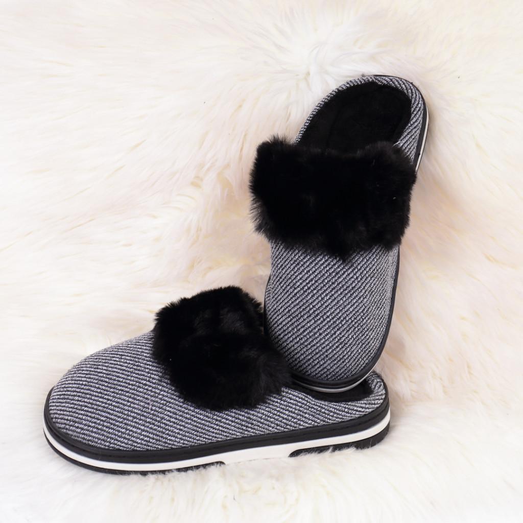 Papuci de casa cu puf negri Gora