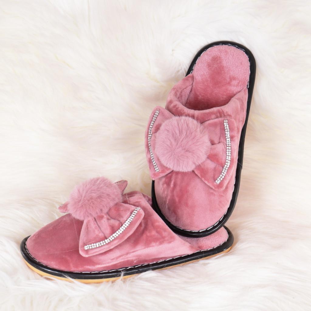 Papuci de casa roz cu funda si puf Lania